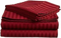 BEST BEDDING COLLECTION 100% Egyptian Cotton 1000 TC USA Sizes Burgundy Stripe
