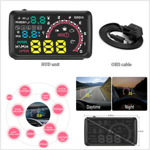 "5.5"" Car OBD2 HUD Head-Up Display Fuel Consumption Engine Speed Warning System"