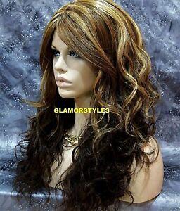 Human Hair Blend Long Wavy W Bangs Layered Brown Blonde Mix Full Wig Hair Piece