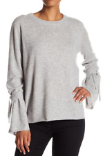Catherine Malandrino Crew Neck Tie Cuff Cashmere Sweater Flannel L NWT $268