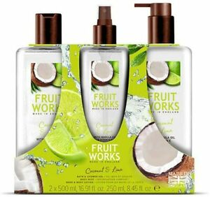 Fruit Works Coconut & Lime Trio Set, Shower Gel, Body Mist and Body Lotion