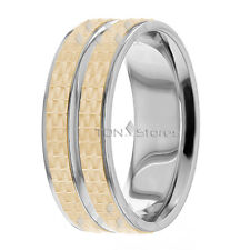 10K Gold Mens Wedding Bands Rings Two Tone Mens Wedding Bands 8mm Comfort Fit