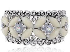 Lady Metal Cream Bead Crystal Rhinestone Bead Flower Bracelet Bangle Cuff