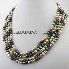 "80"" 5-6mm Multi Color Baroque Freshwater Pearl Strands Necklace UE"
