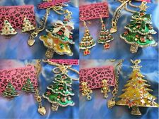 BETSEY JOHNSON CHRISTMAS TREE CRYSTAL PENDANT NECKLACE & TREE EARRINGS NEW