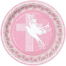 "Pink Dove Cross 8 Ct Lunch Plates 9"" Baptism Christening Communion Party"
