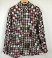Orvis Mens Size XL Shirt Button Front Long Sleeve Plaid Red Blue Brown White
