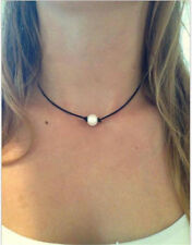 Women Pearl Necklace Leather Cord Choker Jewelry Handmade Choker Necklace New