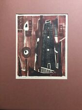 "A.P. Hankins Original Art.  ""Wood Block"" Abstract Signed In Pencil A.P. Hankins"