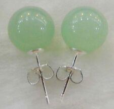 10mm Jewelry Natural Light emerald jade & Sterling Silver Stud Earrings