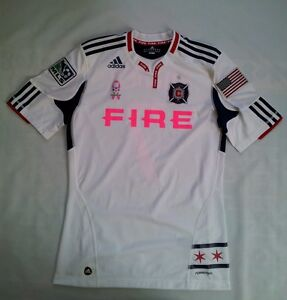 RARE MLS WORKS ADIDAS FORMOTION CHICAGO FIRE #7 MIKE BANNER SIGNED JERSEY SIZE M