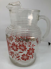 Vintage Mid Century Glass Juice Pitcher Red & Gold Flowers