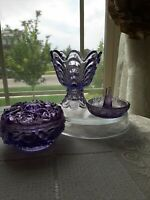 Vintage Fenton Purple Vanity Lot! Great Votive, PowderJar & Ring Holder! LOVELY!