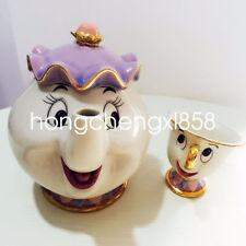 Cartoon Beauty And The Beast Teapot Mug Mrs Potts Chip Tea Pot Cup Set Xmas Gift