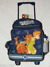 """SCOOBY-DOO LARGE BLUE  ROLLING CANVAS  BACKPACK WITH WATER BOTTLE 16"""" X 12 """""""