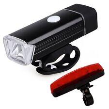 USB Rechargeable Waterproof Bike LED Light Set Front & Back Light Set