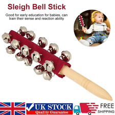 More details for baby kids sleigh bells stick wooden hand with 21 metal jingles ball percussion