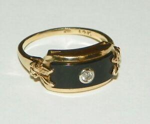 14k YELLOW GOLD BLACK ONYX & DIAMOND RING BAND STYLE RECTANGULAR RING <Sz 4.25 >