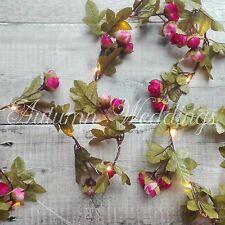Pink Rose Bud Alambre LED Tira de Lamparitas Batería Guirnalda Flor De Dormitorio De Interior