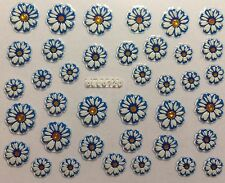 Nail Art 3D Decal Stickers Pretty White & Blue Daisy Flowers BLE672D