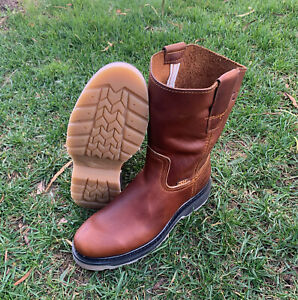 Men's Pull on Mexican Hand-made Work Brown Boots Bota Trabajo Hombre ruper
