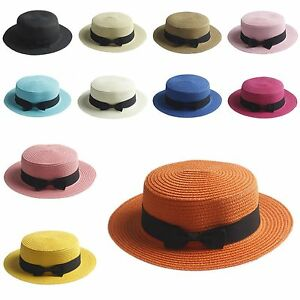 Women Lady's Straw Bowler Boater Sun Hat Round Flat Caps Wide Brim Summer Beach