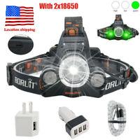 BORUiT 80000LM 3X XM-L LED Headlamp Hunting Head Torch Rechargeable Flashlight