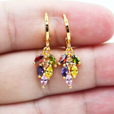 18K Yellow Gold Filled Rainbow Leaf Marquise Topaz Zircon Lady Dangle Earrings