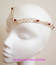GWEN SILVER & GARNET GLASS CELTIC FANTASY CIRCLET ADJUSTABLE LARP REN MERLIN