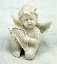 Decorative Shiny White Ceramic Cherub playing a Harp figurine