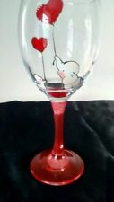 Hand Painted Pink Elephant Rabbit Red  Heart Balloons Large Wine Glass