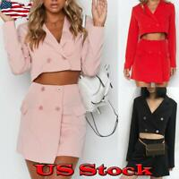 Women's Suit Ladies Co-Ord Cropped Tops Skirt Dress Party Blazer Two Piece US