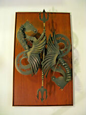 MIDCENTURY SCULPTURE DEPICTING NEPTUNE'S HORSE WITH TRIDENT MADE IN SWITZERLAND