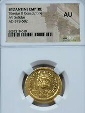 NGC AU Tiberius II Constantine AV Solidus. Constantinople Mint. 578-582 AD