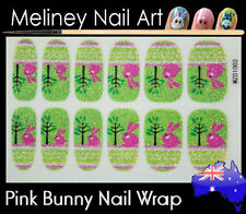 Pink Bunny Full Cover Glitter Nail Art Wraps Stickers Pattern Easter Rabbit