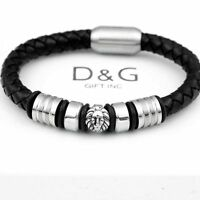 """DG Men's 8.5"""" Stainless Steel Black Braided Leather Magnetic,LION Bracelet.BOX"""