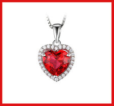 Sterling Silver 3.9ct Created Ruby Heart shape pendant