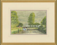 P.D. Lough - Signed 20th Century Watercolour, Canal Scene with Figures and Boat