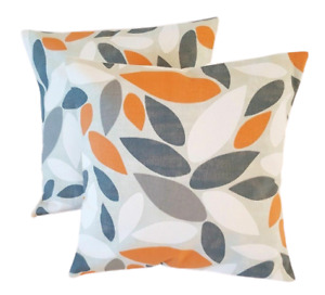 "Cushion Cover 12"" 14"" 16"" 17"" 18"" 20""  Pimlico Orange Mango Grey Leaves Design"