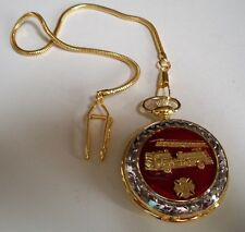Men's  Clip On  Fire Truck Red/GoldTone Pocket Watch With Chain