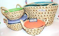 Tupperware Wonderlier Bowls Travel Picnic Set Maize & Seagrass Handled Bags Rare
