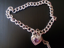 Italian Sterling Silver Thick Curb Chain Amethyst Filigree Heart Lock Bracelet