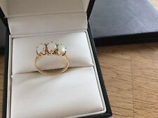9ct Gold ring set with 3 large Australian Opals size N1/2