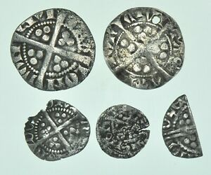5 SILVER HAMMERED COINS, PENNY,HALFPENNY,FARTHING, HENRY III-EDWARD (c1216-1377)