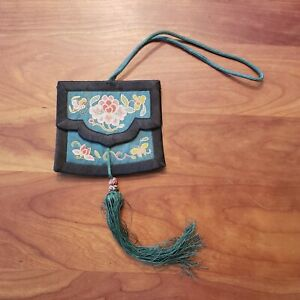 """Antique Chinese Silk Purse with Intricate """"Forbidden Stich"""" Embroidery Complete"""