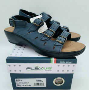 Flexus by Spring Step Women Willa Slingback Sandals Navy Leather US 7.5-8 EUR 38