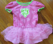 NFL Chicago Bears Toddler Girls Size 24 Months Pink Cotton Dress Tulle w Logo