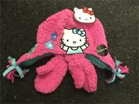 Girls Hello Kitty Girls Winter Hat  and Mitten Gloves set - Pink Fluffy Fleece