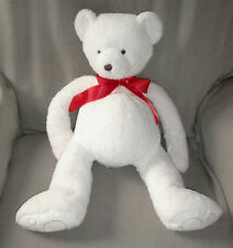 BATH AND & BODY WORKS STUFFED PLUSH CUBBY TEDDY BEAR WHITE RED BOW BEAN 22""