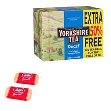Yorkshire Decaf Black Tea 120 Bags – with 2 x Free Lotus Caramelised Biscuits 6g
